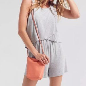 UO Silence + Noise Gray Layered Romper